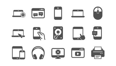 Device icons on white 写真素材 - 129342364