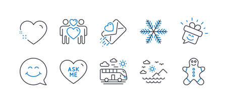 Set of Holidays icons, such as Love couple, Snowflake, Bus travel, Smile face, Sea mountains, Love letter, Heart, Smile, Ask me, Gingerbread man line icons. Lovers, Air conditioning. Vector