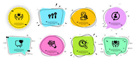 Collagen skin, Heart and Person info line icons set. Ilustracja