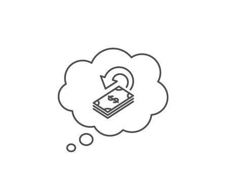 Cashback line icon on white 向量圖像