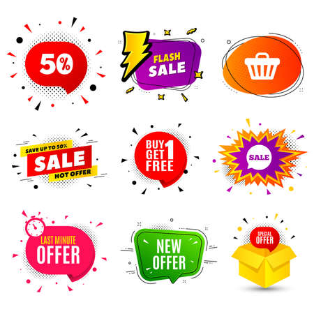 New offer. Banner badge, flash sale bubble. Illusztráció