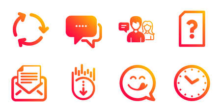 Message, Yummy smile and Scroll down line icons set on white Ilustrace