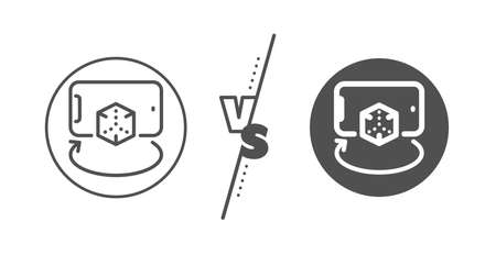 VR simulation sign. Versus concept. Augmented reality phone line icon.