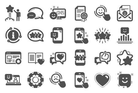 Feedback icons. Set of User Opinion, Customer service and Star Rating icons.