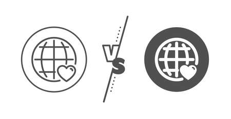 Heart with Globe symbol. Versus concept. International Love line icon. Archivio Fotografico - 129341601