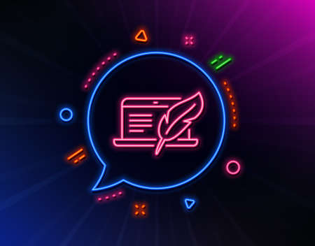 Copy-writing notebook line icon. Neon laser lights. Banque d'images - 129341608