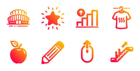 Apple, Dry t-shirt and Graph chart line icons set. Sports stadium, Pencil and Rank star signs.
