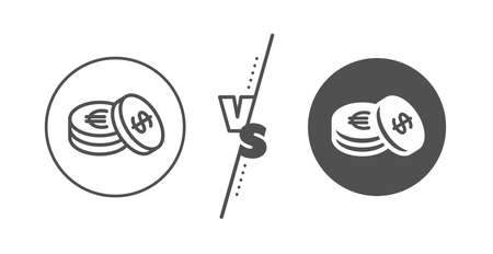 Banking currency sign. Versus concept. Coins money line icon. 向量圖像