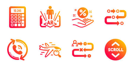 Loan percent, Call center and Journey path line icons set. Ilustrace