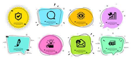 Artificial intelligence, Receive mail and Creative idea line icons set. Ilustração