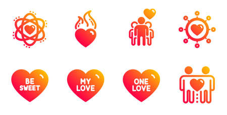 My love, Be sweet and One love line icons set