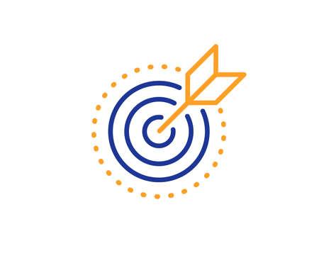 Icono de línea de propósito objetivo en blanco