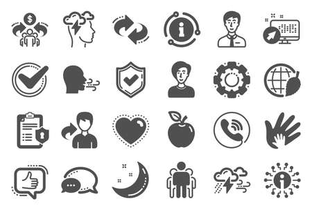 Check mark, Sharing economy and Mindfulness stress, Breath people icons. Archivio Fotografico - 129341038