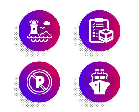 No parking, Lighthouse and Parcel checklist icons simple set