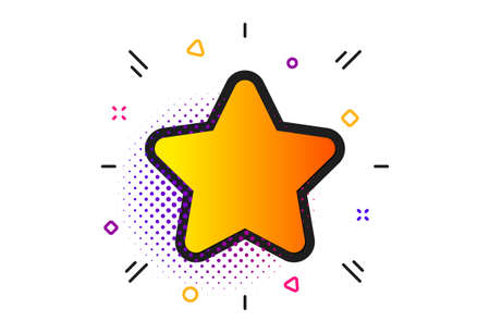 Best rank sign. Halftone circles pattern. Star icon. Bookmark or Favorite symbol. Illustration