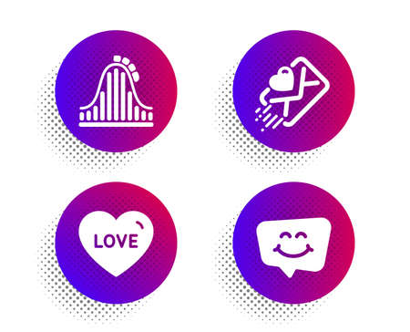 Roller coaster, Love and Love letter icons simple set Illustration