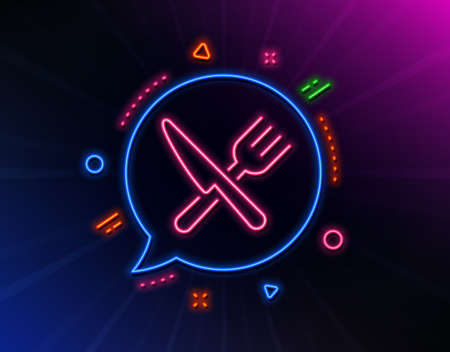 Food line icon. Neon laser lights. Cutlery sign.