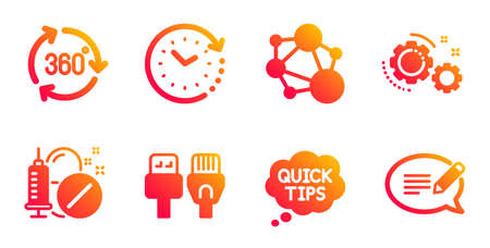 Medical drugs, Integrity and Time change line icons set