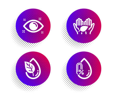 Fair trade, Organic product and Health eye icons simple set on white