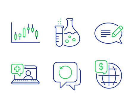 Message, Candlestick graph and Chemistry flask line icons set. Ilustracja