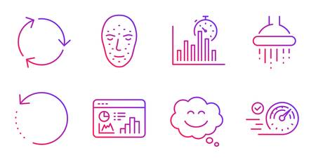 Shower, Face biometrics and Smile chat line icons set.