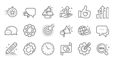 Brand social project line icons on white Illustration