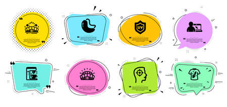 T-shirt design, Online education and Sports arena line icons set 일러스트