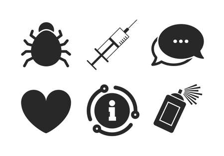 Heart and spray can sign symbols. Chat, info sign. Bug and vaccine syringe injection icons.