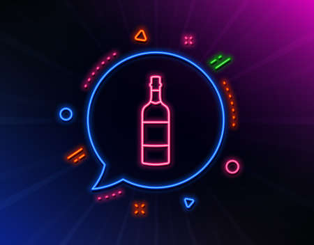 Brandy bottle line icon. Neon laser lights. Whiskey or Scotch alcohol sign.