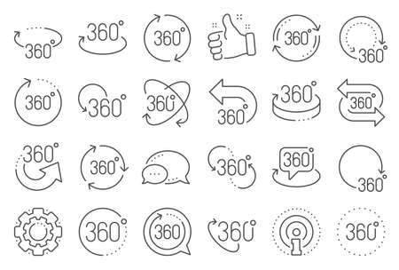 360 degree line icons Ilustrace