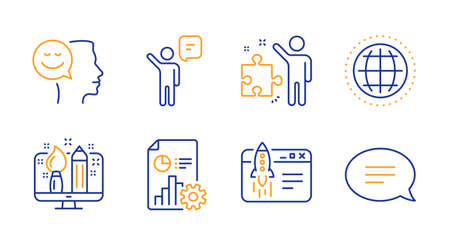 Creative design, Report and Globe line icons set. Strategy, Agent and Start business signs. Good mood, Chat symbols. Designer, Presentation document. Education set. Line creative design icon. Vector