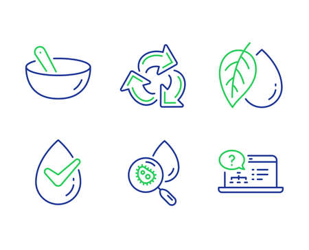 Recycle, Mineral oil and Dermatological tested line icons set. 向量圖像