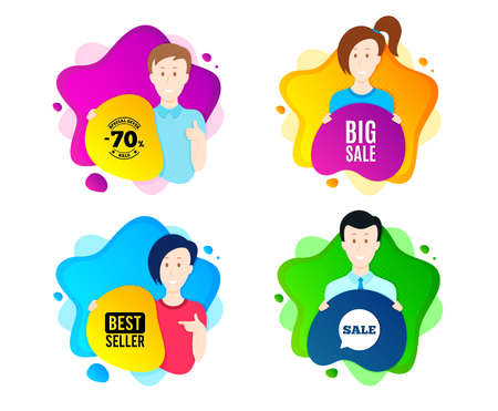 Big Sale. People shape offer badge. Special offer price sign. Advertising Discounts symbol. Dynamic shape offer.