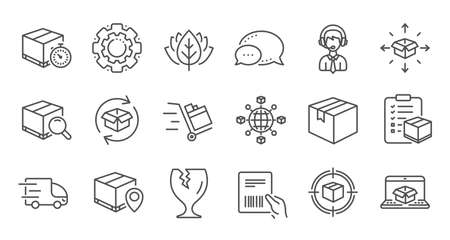 Logistics and Shipping line icons. Truck Delivery, Checklist and Parcel tracking. Vektorgrafik