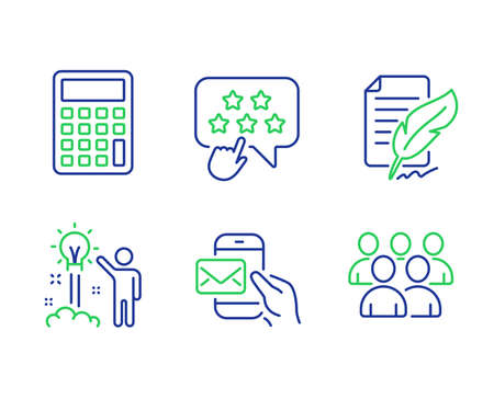 Messenger mail, Feather signature and Calculator line icons set. Creative idea, Ranking star and Group signs. Ilustração