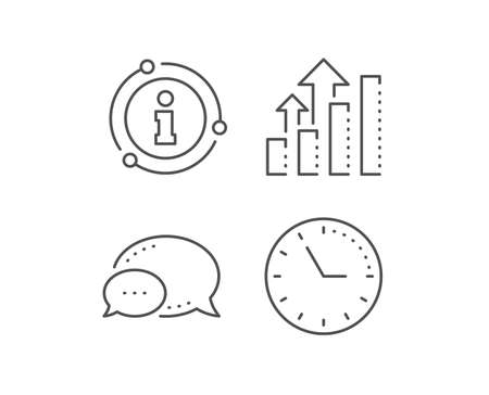 Analysis graph line icon. Chat bubble, info sign elements. Results chart sign. Traffic management symbol.