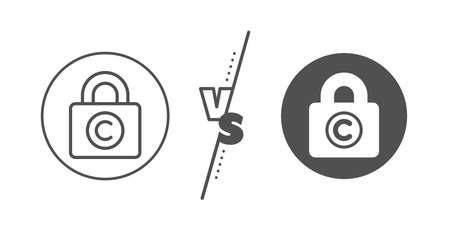 Copywriting sign. Versus concept. Copyright locker line icon. Private Information symbol. 向量圖像