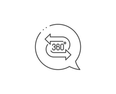 360 degree line icon. Chat bubble design. VR technology simulation sign. 版權商用圖片 - 129339980