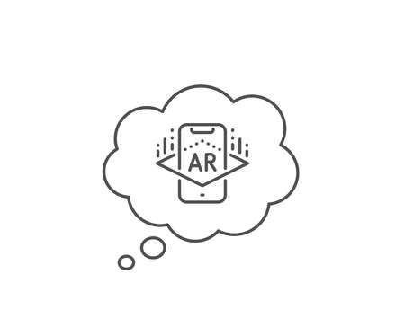 Augmented reality phone line icon. Chat bubble design. VR simulation sign. 向量圖像