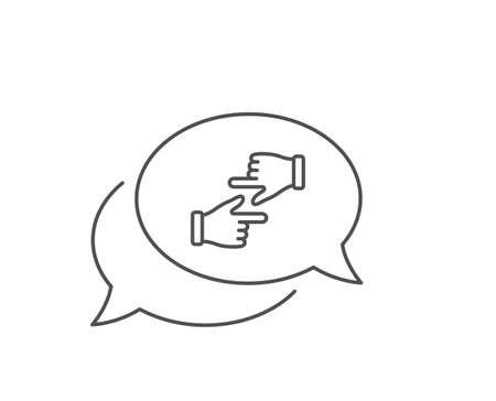Click hands line icon. Chat bubble design. One finger palm sign. Banque d'images - 129339645