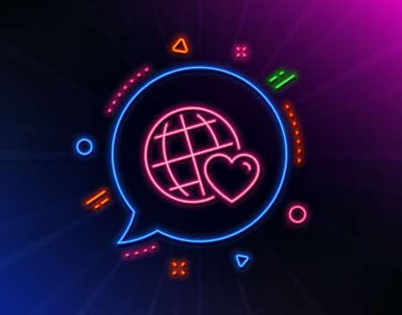 Friends world line icon. Neon laser lights. Friendship love sign.