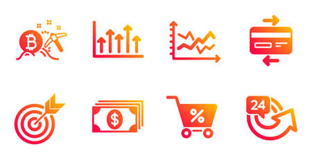 Special offer, Target and Growth chart line icons set.  イラスト・ベクター素材