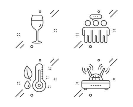 Thermometer, Employees group and Wine glass line icons set. 向量圖像