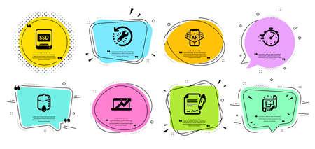 Architect plan, Sales diagram and Timer line icons set. Illustration