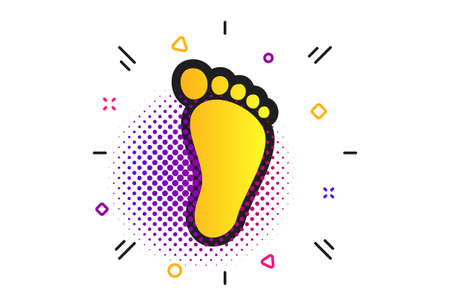 Child footprint sign icon. Halftone dots pattern. Toddler barefoot symbol. Standard-Bild - 129339697
