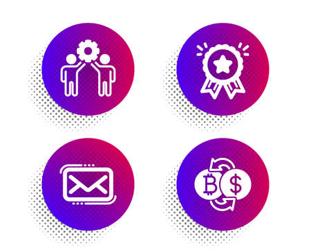 Loyalty award, Employees teamwork and Messenger mail icons simple set.