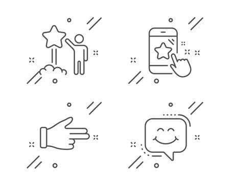 Click hand, Star rating and Star line icons set. Smile chat sign. Direction finger, Phone feedback, Launch rating. Happy face. People set. Line click hand outline icon. Vector Stok Fotoğraf - 129279121
