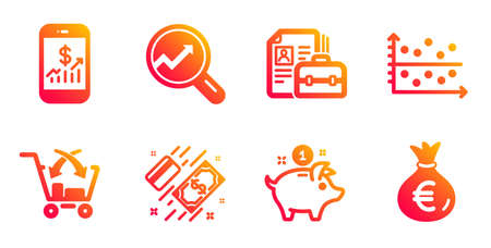 Saving money, Mobile finance and Payment line icons set.
