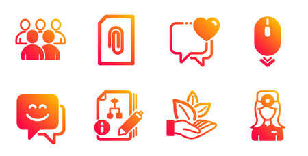 Smile face, Scroll down and Heart line icons set. Illustration
