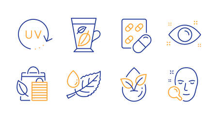 Health eye, Bio shopping and Capsule pill line icons set.  イラスト・ベクター素材